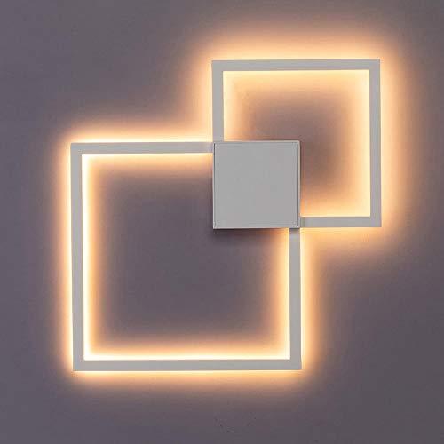 Led-wandlamp, zwart, wit, rond, vierkant, om zelf te maken, wanddecoratie, 20 W, warm wit, 20 W, zwart, afstandsbediening