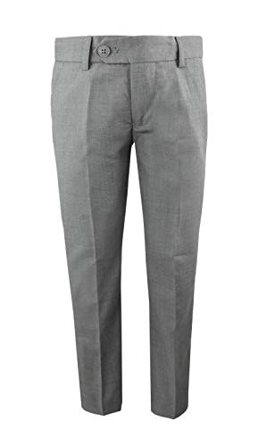 Black n Bianco Boys' First Class Slim Fit Trousers Dress Pants Gently Tapered Flat Front - Presented by Baby Muffin (16, Rustic Gray)