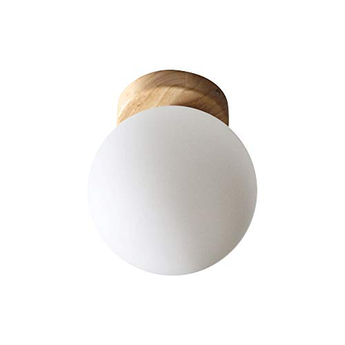 Deckenleuchte holz nordisch Milch weiß Kugel Deckenleuchten E27 Massivholz Lampenbasis warm weiß Flur Schlafzimmer Wohnzimmer minimalist Beleuchtung φ 20cm
