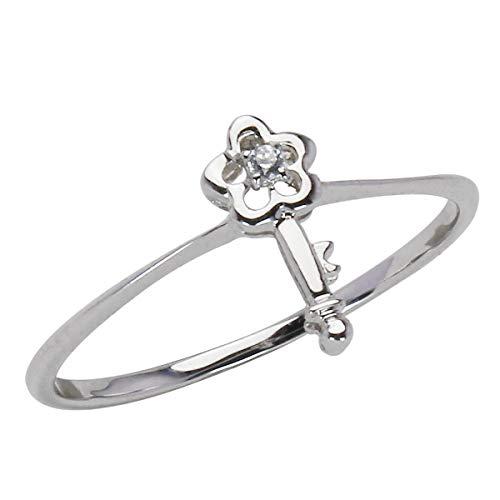 真珠の杜 ダイヤモンド ホワイトゴールド K18WG 花 フラワーモチーフ 鍵 キー リング 指輪 レディース 10.5号