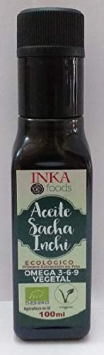Aceite de sacha inchi orgánico, omega 3-6-9 vegetal, botella de 100 ml