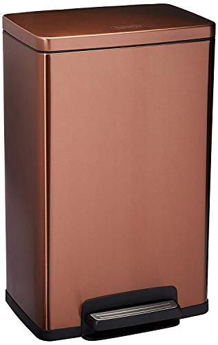 Tramontina Stainless Steel Rectangular Step Can Freshener System, Trash Can (Bronze, 13-Gallon)