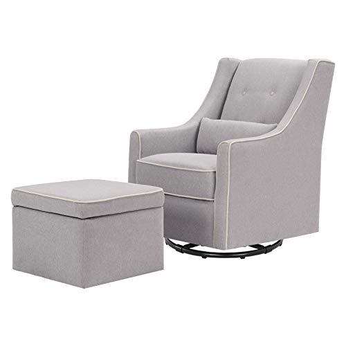 DaVinci Owen Upholstered Swivel Glider with Side Pocket and Storage Ottoman in Grey with Cream Piping, Greenguard Gold Certified