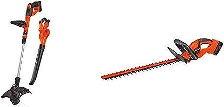 BLACK+DECKER 40V Max Cordless Sweeper & String Trimmer Combo Kit (LCC340C) & 40V MAX Cordless Hedge Trimmer, 22-Inch (LHT2240CFF)