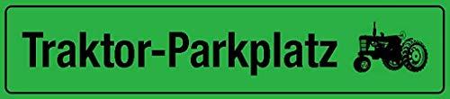 Traktor-Parkplatz - Placa de metal para pared (10 x 40 cm), diseño de tractor