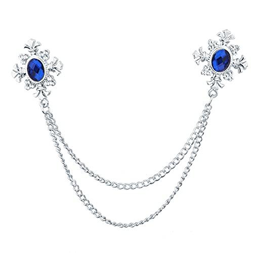 Broche de cadena de cruz de cristal con borla de moda para mujer, collar de camisa y broches de personalidad Pin de solapa hebilla para mujer (color metálico: azul plateado)