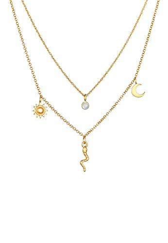 Elli PREMIUM Collares Colgante de serpiente de sol y luna con piedra de luna en plata de ley 925 bañada en oro