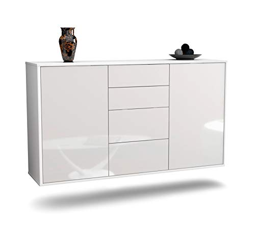 Dekati Sideboard Corona hängend (136x77x35cm) Korpus Weiss matt | Front Hochglanz Weiß | Push-to-Open | Leichtlaufschienen