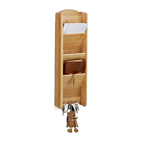 Relaxdays 10020249 Etagère à clés bambou porte-clefs mural avec 3 compartiments rangement mémo bloc-notes HxlxP: 7,5 x 15 x 49,5 cm, nature