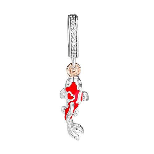 PANDOCCI 2019 Regalo del día de San Valentín Buena Fortuna Carp Bead 925 Plata DIY Adapta para Pandora Original Pulseras Charm joyería de Moda