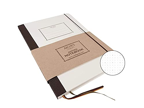 Archie's Calligraphy Notizbuch mit Gummibandverschluss, Notizheft, Tagebuch, Notebook, mit Rückentasche, Retro Design, B5 170 x 242 mm, 240 Seiten (120 Blatt), Gepunktet