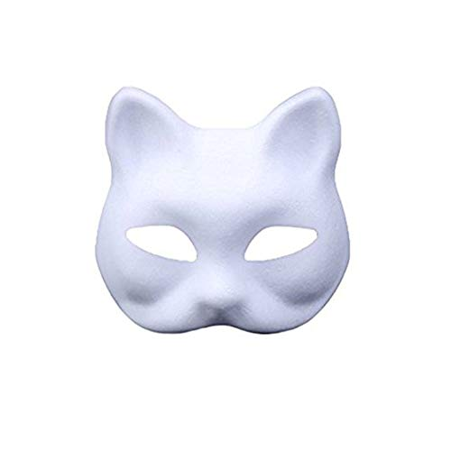 meioro DIY Weißes Papier Maske Zellstoff Blank Handgemalte Maske Persönlichkeit Kreative Freie Design Maske(10 Stück,Katze)