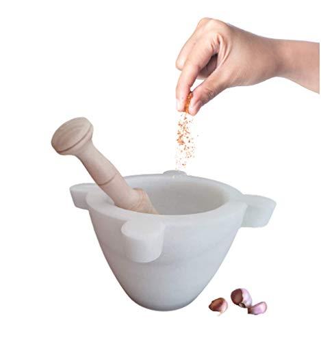 Dreamstone Mortero Cocina de Mármol Blanco Macael (14_cm) el auténtico aparecido en los Principales programas de televisión y Usado por Grandes Cocineros reconocidos a Nivel Nacional