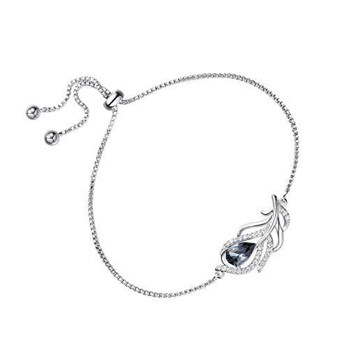 925 plata esterlina negro pluma de cristal en forma de joyería conjunto regalos pulsera
