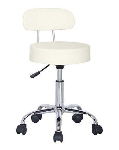 SixBros. Sitzhocker höhenverstellbar, Drehhocker mit Rollen, Hocker aus Kunstleder, verstellbar, Rückenlehne, Elfenbein Weiß