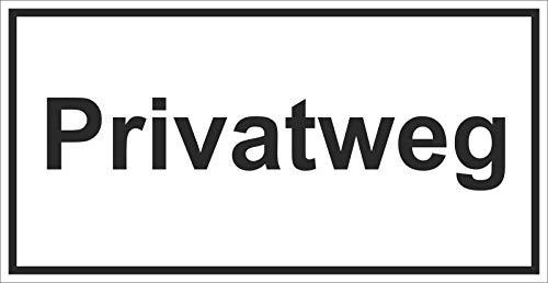 INDIGOS UG - Privatweg - Hinweisschild zur Grundbesitzkennzeichnung - Alu-Dibond 3mm 33x17 cm - Warnung - Sicherheit - Hotel, Firma, Haus
