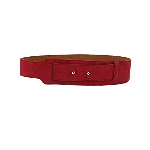 Dames gordel decoratie met rok jas trui suede mode eenvoudige brede riem, rood 103cm