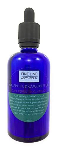 Curl Perfecting mezcla de aceite de coco y aceite de argán 100ml por Fine Line Botica. 100% Premium, Pure, Natural, Coco y aceite de argán. Una mezcla de lujo para perfeccionar el pelo rizado.