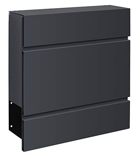 Frabox® Design Briefkasten LENS in edlem anthrazitgrau RAL 7016 - mit Zeitungsfach