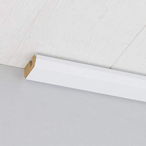 Paneel-Abschlussleiste Abdeckleiste mit Schattenfuge aus MDF in Superweiß matt 2600 x 35 x 17 mm