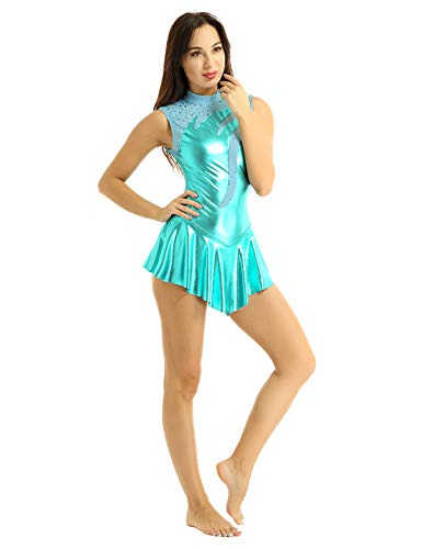 inhzoy Déguisement Femme Pompon Girl Robe de Danse Latine Patinage Femme Robe Court Cuir Cocktail Bal Jupe High School Musical Uniforme S-XL Turquoise Medium