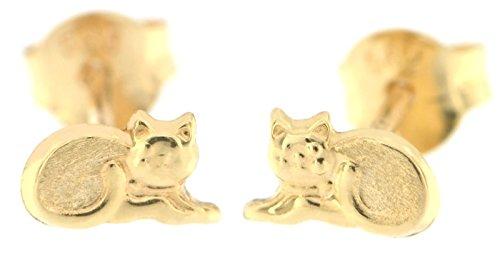 ERCE Katze Mini Ohrstecker, 14 Karat Gold 585