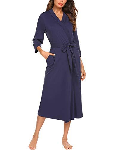 Unibelle Damen Morgenmantel Bademantel Nachtwäsche Kimono Saunamantel mit Tiefer V-Ausschnitt Schlafanzug aus Baumwolle XL