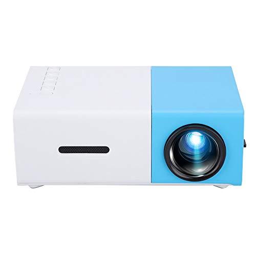 Proyector LED para el hogar, mini proyector YG300 portátil para el hogar LED 320 * 240P Soporte de resolución 1080P Proyector HD, Proyector de video LED Pico para cine en casa, regalo para niños(azul)