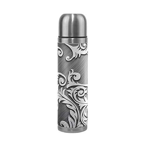 XiangHeFu Sportgetränk Wasserflasche Rattan Metall Silber Halten Sie kalte oder heiße Thermoskanne 17oz auslaufsichere Reisebecher