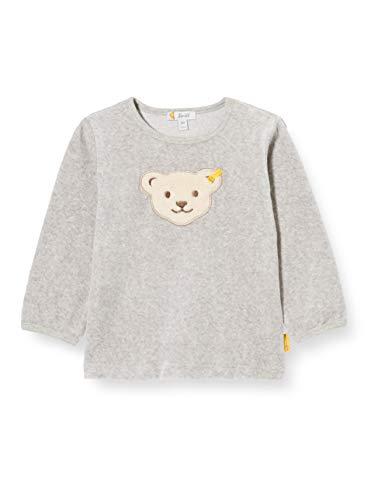 Steiff Unisex Baby großem Tedddybärkopf Sweatshirt, Soft Grey Melange, 50