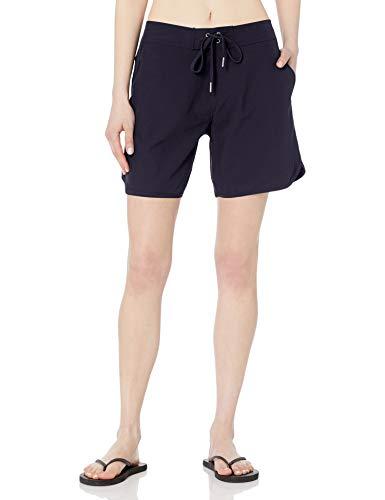 "Nautica Women's Solid 7"" Stretch Boardshort – Casual Quick-Drying Swim Shorts, Deep Sea, Small"