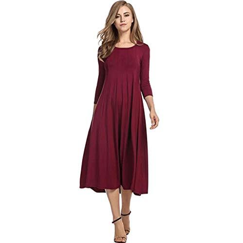 VEMOW Faldas Mujer Señoras de Las Mujeres Sueltas de Gran tamaño Cuello Redondo Manga Larga Gran Columpio Multicolor Vestido(Rojo,2XL)