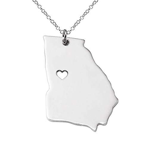Meiligo 18K Gold Silver Country Map Charm Pendant Georgia State Map Necklace Jewelry (Silver)