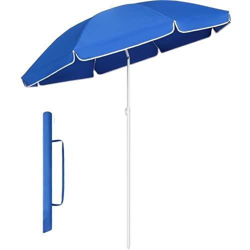 MVPower Ombrellone da Giardino, Ombrellone da Spiaggia Pieghevole da 160 cm, Inclinabile, Per Il Giardino Esterno Della Spiaggia Balcone, 160 g/m², Blu Reale