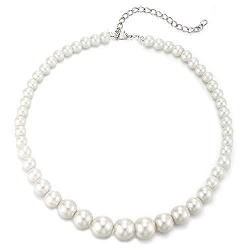COOLSTEELANDBEYOND Klassischer Einfachen Weiß Perle Statement Halskette Perlen Kette Anhänger, Partei Abendkleid Hochzeit Bankette