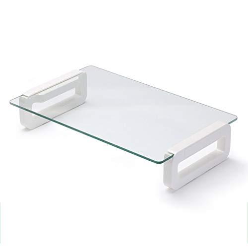 Jinxin Monitorstandaard voor kantoorbenodigdheden, glazen bureau-computerstandaard, riser, laptop-desktop-standaard voor MacBook, duurzaam eenvoudig kantoor pc-scherm riser standaard
