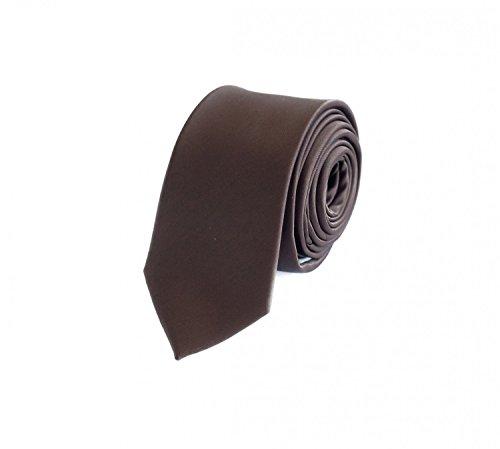 Fabio Farini - Cravate unie élégante en différentes couleurs au choix marrone 6 cm