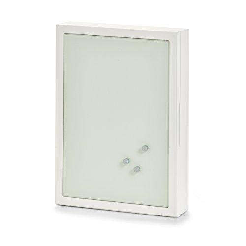 Zeller Schlüssel-/Memo-Box, MDF/Glas Memoboard Marmor, weiß, 22 x 5 x 30 cm