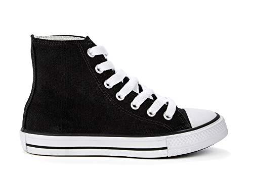 Coole-Fun-T-Shirts Jungen + Mädchen Sneaker Kinderschuhe 80 er Turnschuhe schwarz High Top Canvas Stiefel Kinderstiefel Boots Gr.30