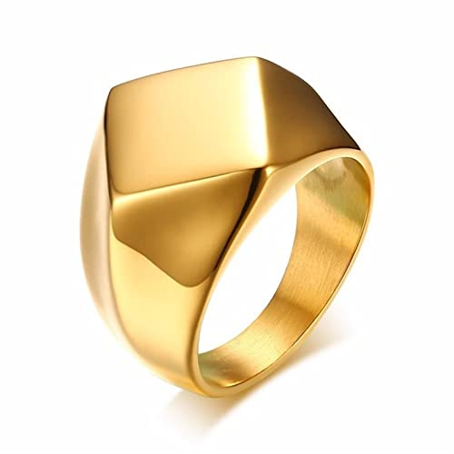 Assorted Colors Signet Ring for Men Stainless Steel Quadrangle Flat Top Square Men Jewelry