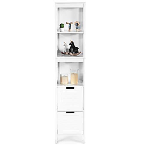 GIANTEX Hochschrank schmal, Badschrank Badezimmerschrank mit 3 Ablage und 2 Schubladen, Badhochschrank Badregal aus Holz, 30,5x30,5x145 cm, weiß