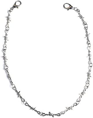 KESOCORAY Punk Gothic Thorns Stainless Steel Barbed Wire Chain Necklace Silver Fine Jewelry product image