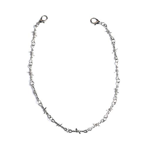 KESOCORAY Punk Gothic Thorns Stainless Steel Barbed Wire Chain Necklace Silver Fine Jewelry for Men Women(Fine Chains Necklace)