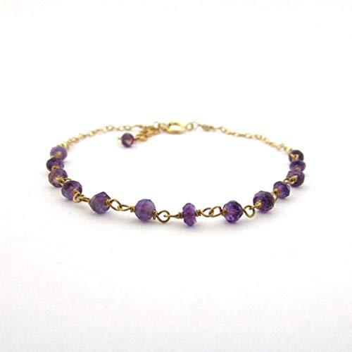 World Wide Gems Pulsera de amatista púrpura chapada en oro de 24 quilates, 3 mm, ajustable, con círculo facetado de 7 pulgadas para hombres, mujeres, GF, BF, adultos.