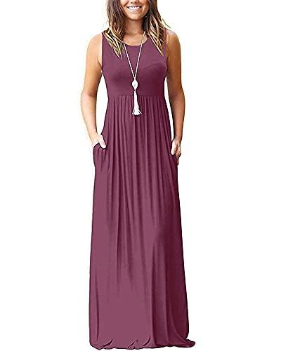 AUSELILY Enfärgad sommar ärmlös lös maxiklänning avslappnad lång klänning med fickor oliv
