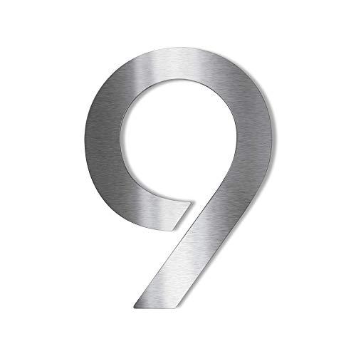 Metzler Edelstahl Hausnummer – modernes Design - wetterfest & pflegeleicht - Schrift Bauhaus - Steckdübel - – Höhe 14 cm - Ziffer 9