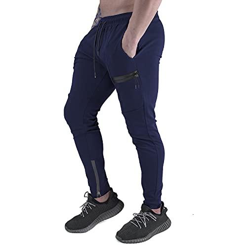 Yageshark Jogginghose Herren Sporthose Baumwolle Fitness Slim Fit Hose Freizeithose Joggers Streetwear (Marine, Large)