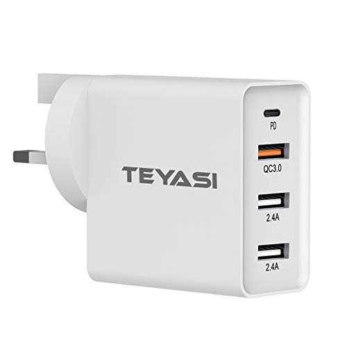 TEYASI Multi USB C Plug,Phone 12 Fast Charger Plug,30W USB-C Power Adapter UK Fast Charging for iPhone 12 Pro Max mini SE 2020 11 X XR XS 8 iPad,Type C Wall Plug for Samsung S20 Plus/Note 20/A21s etc