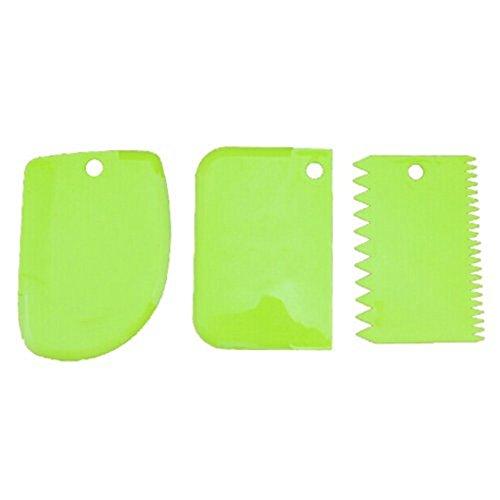 Fauge - Juego de 3 moldes para tartas (plástico), color verde