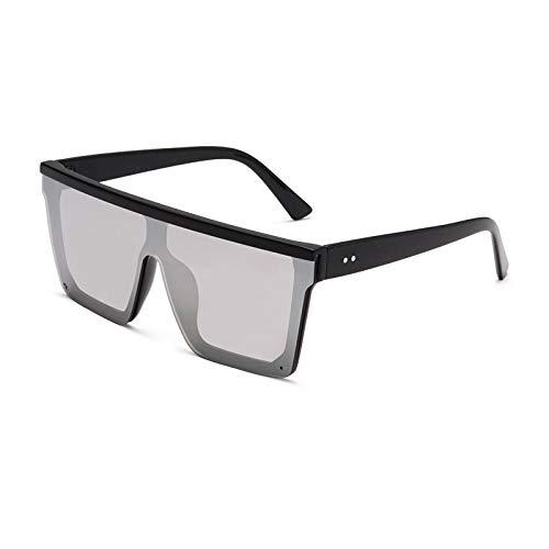 Gafas de Sol Gafas De Sol Cuadradas Negras para Mujer con Montura Grande, Gafas De Sol con Espejo Retro A La Moda, Marca Femenina C6